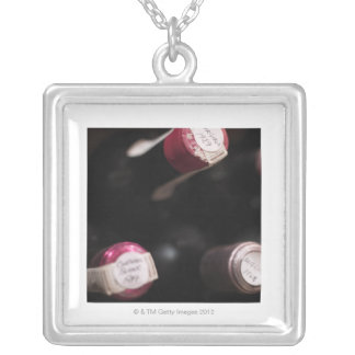 Bottles of wine, close-up, Sweden. Personalized Necklace