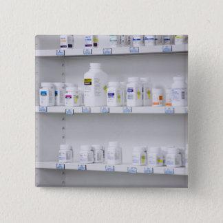 bottles on the shelves at a pharmacy 15 cm square badge