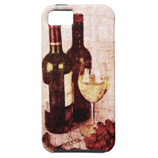 Bottles with wine, white wine glass and grapes iPhone 5 case