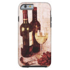 Bottles with wine, white wine glass and grapes tough iPhone 6 case