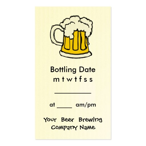 Bottling Appointment Brewing Company, Bar, U-Brew Business Cards