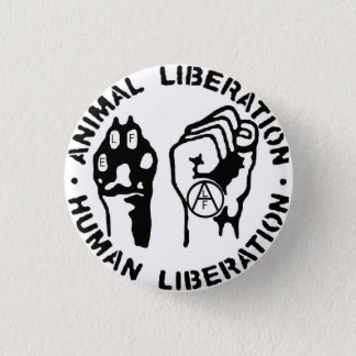 Bottom animal liberation 3 cm round badge