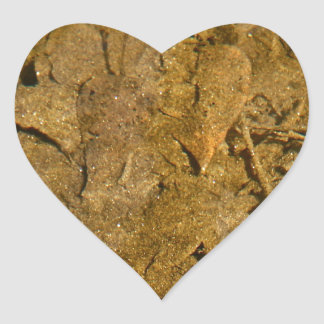 BOTTOM OF A RIVER WITH GOLD SPECKS HEART STICKER