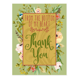 Bottom of My Heart Floral Thank You Postcard