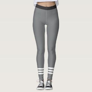 Bottom Three White Stripes on Grey Leggins Leggings