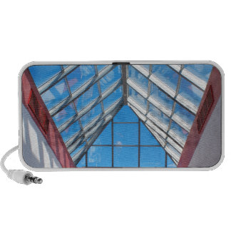 Bottom view on the triangular glass roof mp3 speakers