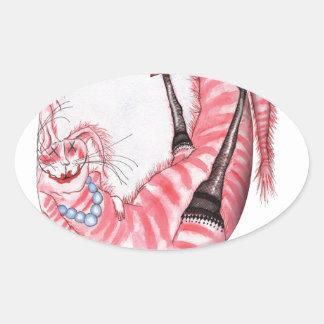 bottoms up - cartoon cat, tony fernandes oval sticker