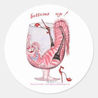 bottoms up - cartoon cat, tony fernandes round stickers
