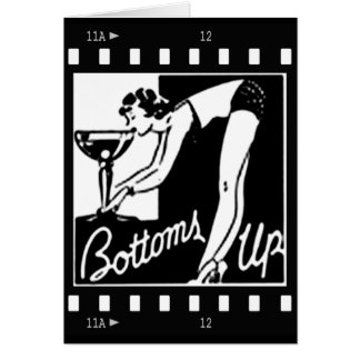 Bottoms Up Retro Lady Drinking Huge Martini Greeting Card