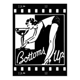 Bottoms Up Retro Lady Drinking Huge Martini Postcard
