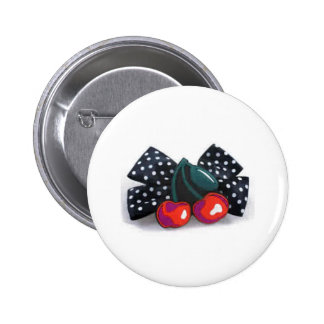 Botton cherry with lace 6 cm round badge