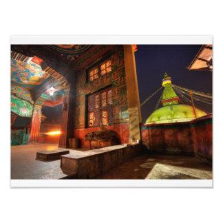 Boudhanath stupa at night photograph