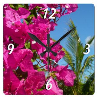 Bougainvillea and Palm Tree Tropical Nature Scene Clocks