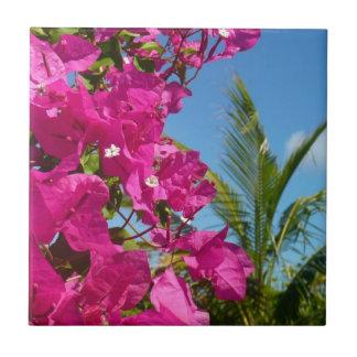 Bougainvillea and Palm Tree Tropical Nature Scene Small Square Tile
