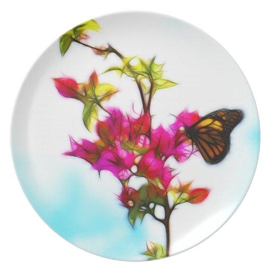 Bougainvillea Butterfly  Melamine Plate