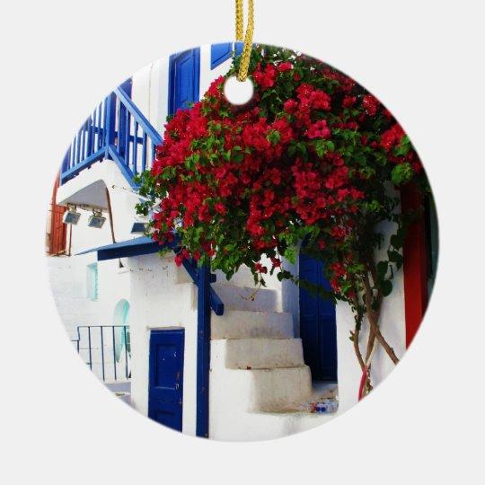 Bougainvillea growing on house in Mykonos, Greece Christmas