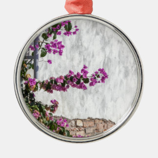 bougainvillea on wall as texture Silver-Colored round decoration