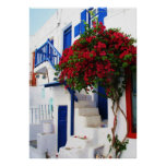 Bougainvillea  outside a house, Greece  POSTER