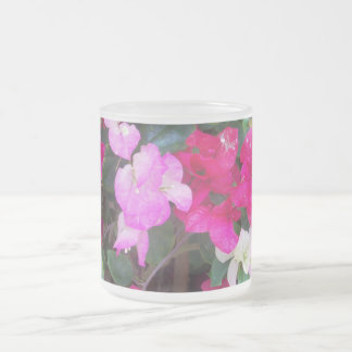 Bouganvilla In Pinks Frosted Glass Mug