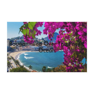 Bouganvillea Over The Pacific Ocean Stretched Canvas Prints