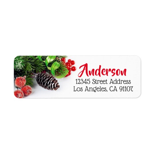 Boughs & Berries Holiday Return Address Label