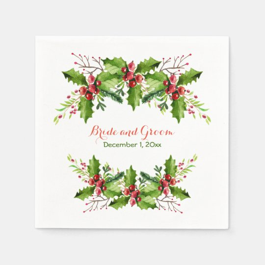 Boughs of Holly Wedding Paper Napkins