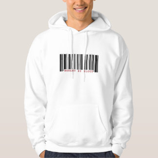 Bought by blood Christan bar code hoodie