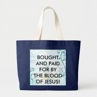 BOUGHT BY JESUS  BLUE PICBag Large Tote Bag