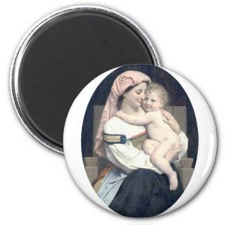 Bouguereau - Femme de Cervara et Son Enfant 6 Cm Round Magnet