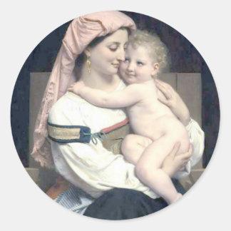 Bouguereau - Femme de Cervara et Son Enfant Round Sticker