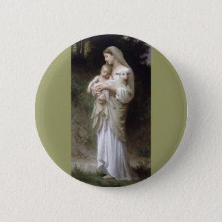 Bouguereau Innocence Lady Child Lamb 6 Cm Round Badge