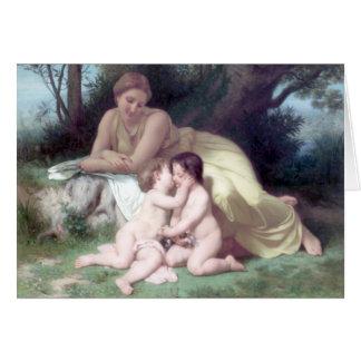 Bouguereau - Jeune Femme Contemplant Deux Enfants Greeting Card
