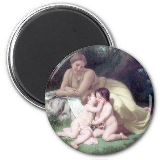 Bouguereau - Jeune Femme Contemplant Deux Enfants Magnets