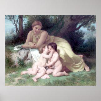 Bouguereau - Jeune Femme Contemplant Deux Enfants Print