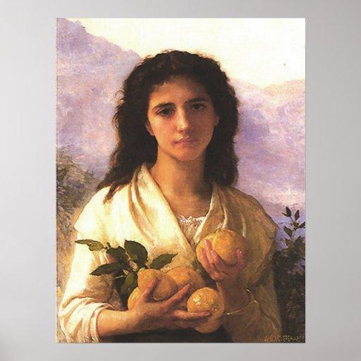 Bouguereau - Jeune Fille Tenant des Citrons Poster