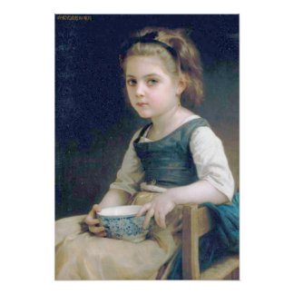 Bouguereau - Petite Fille au Bol Bleu Poster