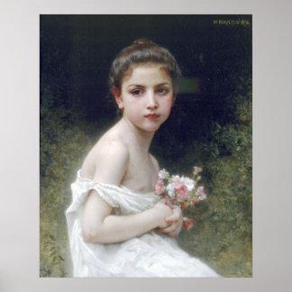 Bouguereau - Petite Fille au Bouquet Posters