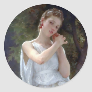 Bouguereau The Earrings Young woman Round Sticker