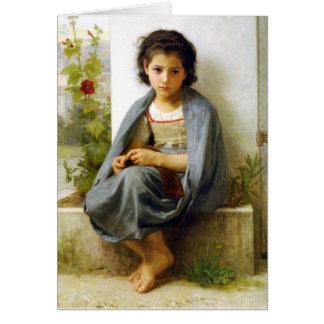 Bouguereau The Little Knitter Greeting Card