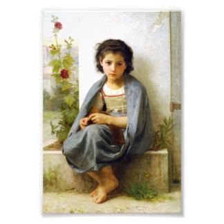 Bouguereau The Little Knitter Art Photo