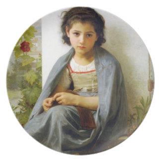 Bouguereau The Little Knitter Plate