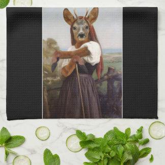 Bouguereau's Dearest Deer Shepherdess Tea Towel
