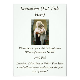 Bouguereau's The Madonna of the Roses (1903) 14 Cm X 19 Cm Invitation Card