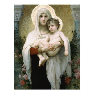 Bouguereau's The Madonna of the Roses (1903) 21.5 Cm X 28 Cm Flyer