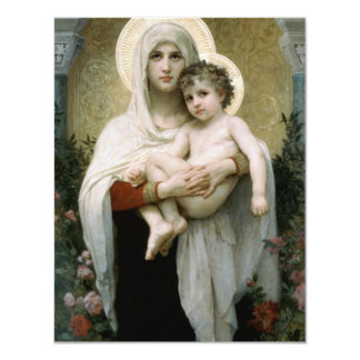 Bouguereau's The Madonna of the Roses (1903) 11 Cm X 14 Cm Invitation Card