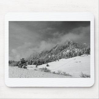 Boulder Colorado Flatirons April Snow In BW Mousepads