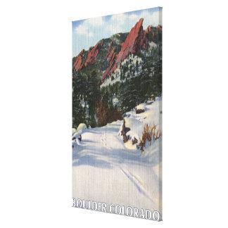 Boulder, Colorado - Flatirons in Winter Canvas Print