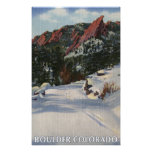 Boulder, Colorado - Flatirons in Winter Poster