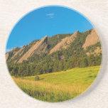 Boulder Colorado Flatirons Sunrise Golden Light Coasters