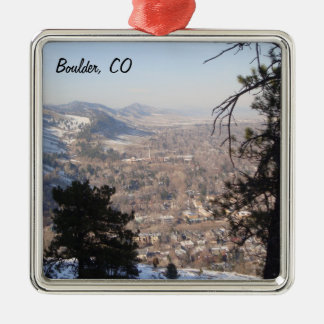 Boulder, Colorado from Above Silver-Colored Square Decoration